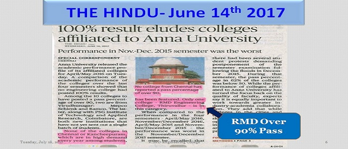 Anna University released the academic performance of the affiliated colleges